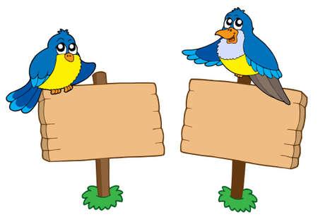 letrero: Dos signos de madera con aves - ilustración vectorial.
