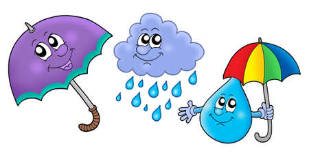 rain cartoon: Autumn rain images - color illustration.