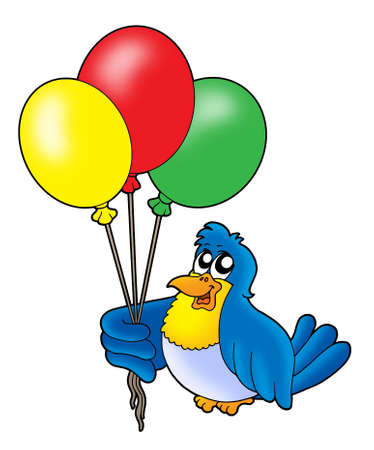 Bird with balloons - color illustration. illustration