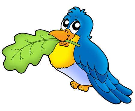 Bird with leaf - color illustration. Stock Illustration - 3437085