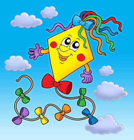 Cute kite on blue sky - color illustration. illustration
