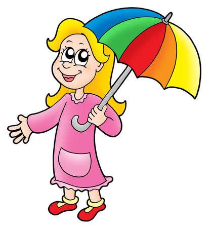 rains: Girl with umbrella - color illustration.