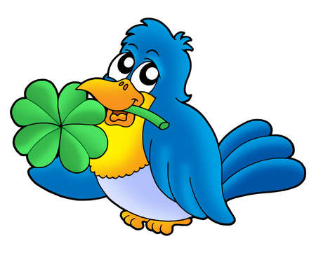 quarterfoil: Bird with four leaves clover - color illustration. Stock Photo