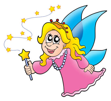 Little fairy with magic wand - color illustration. Stock Illustration - 3446287