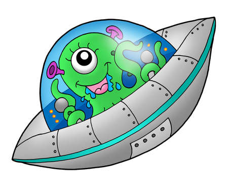 flying saucer: Cute alien in spaceship - color illustration.