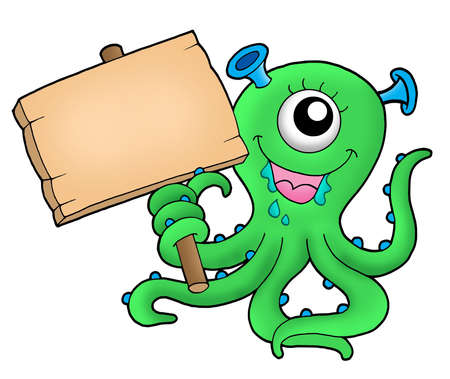 Cute monster with wooden sign - color illustration.