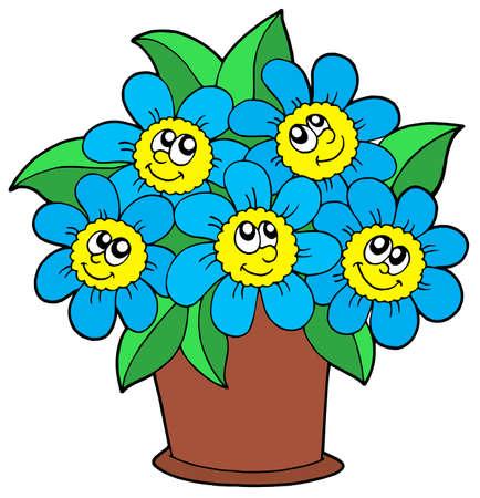 pot decoration: Cute flowers in pot - vector illustration. Illustration