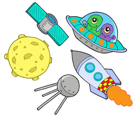 Space collection on white background - vector illustration. Vector