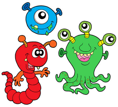 Monster collection 2 on white background - vector illustration.