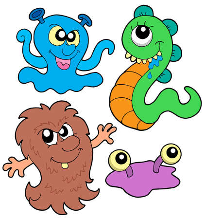 cute creature: Monster collection 3 on white background - vector illustration. Illustration