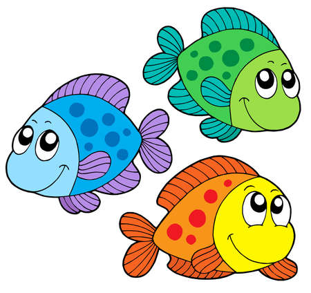 fin swimming: Cute color fishes - vector illustration.