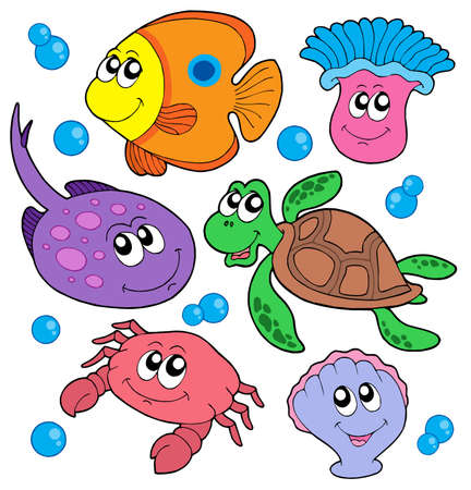 Cute marine animals collection - vector illustration.