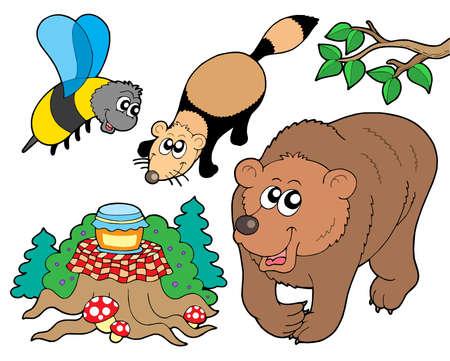 森の動物コレクション 2 - ベクトル イラスト。