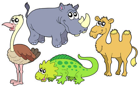 Zoo animals collection - vector illustration.
