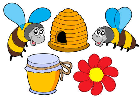 hives: Bee and honey collection - vector illustration. Illustration