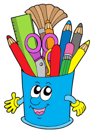 rulers: Cute cup with crayons - vector illustration.