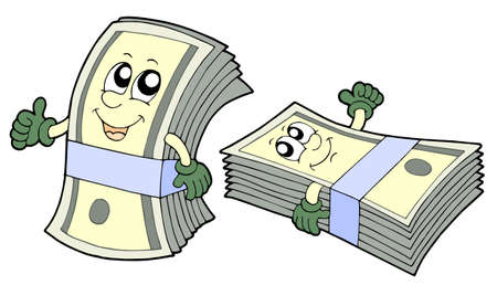 Pair of cute banknotes - vector illustration. Stock Vector - 3503259