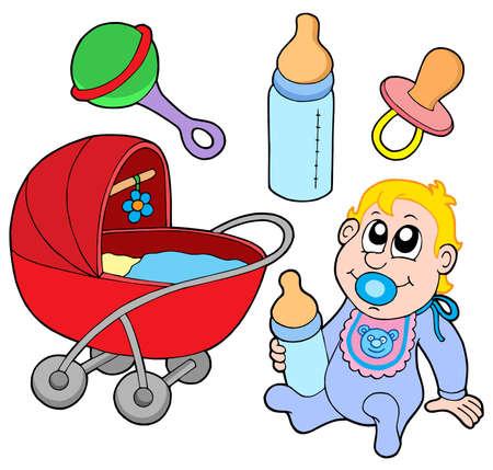 rammelaar: Baby collectie op witte achtergrond - vector illustratie.