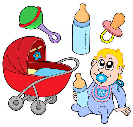 grzechotka: Baby zbierania na białym tle - wektor ilustracji. Ilustracja