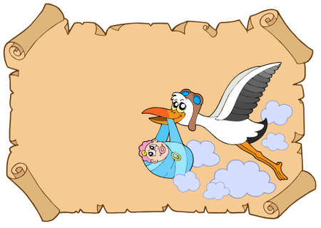 Baby congratulation with stork - vector illustration. Vector