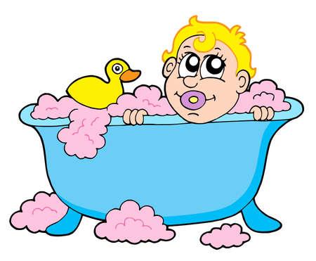 Bébé dans le bain - illustration vectorielle.