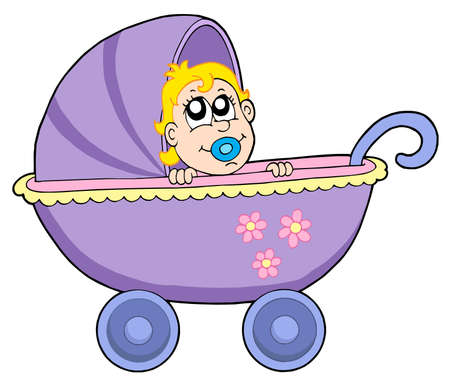 Baby in buggy - vector illustration. Vector