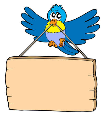 bulletin board: Bird with sign - vector illustration.