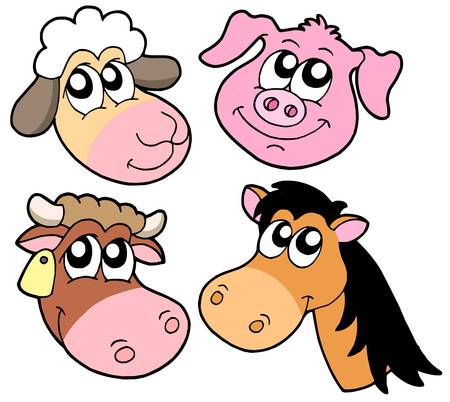 Farm animals details collection - vector illustration.