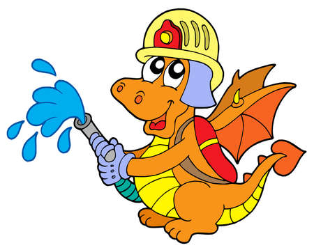 watchful: Fireman dragon on white background - vector illustration.