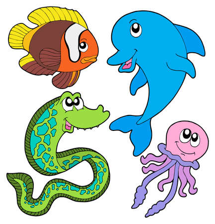 Marine fishes collection - vector illustration.