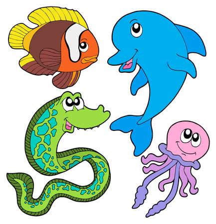 Raccolta dei pesci marini - illustrazione vettoriale.