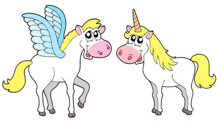 pegasus: Pegasus and unicorn - vector illustration. Illustration