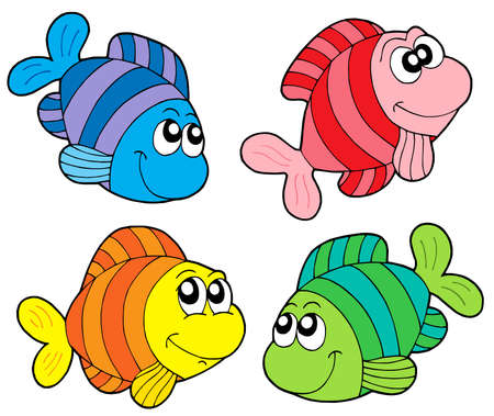 colorful fish: Striped fishes collection - vector illustration. Illustration