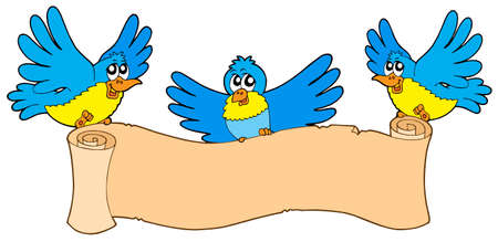 blue smiling: Three birds with parchment - vector illustration.