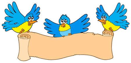 Trois oiseaux de parchemin - illustration vectorielle. Vecteurs