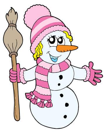 wintery: Cute snowman girl - vector illustration.