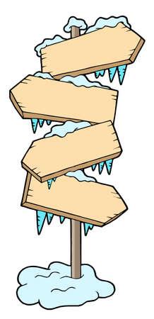 waypoint: Frozen wood sign - vector illustration.