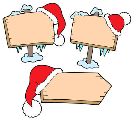 Christmas wooden signs with caps - vector illustration. Stock Vector - 3571263