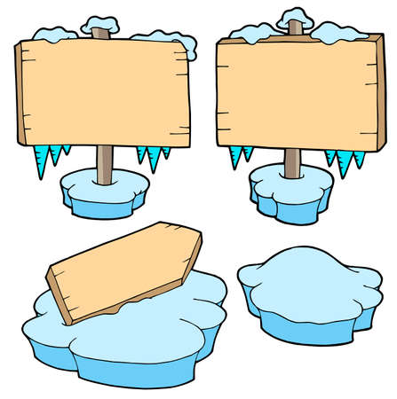 Icy wooden signs - vector illustration. Stock Vector - 3571270
