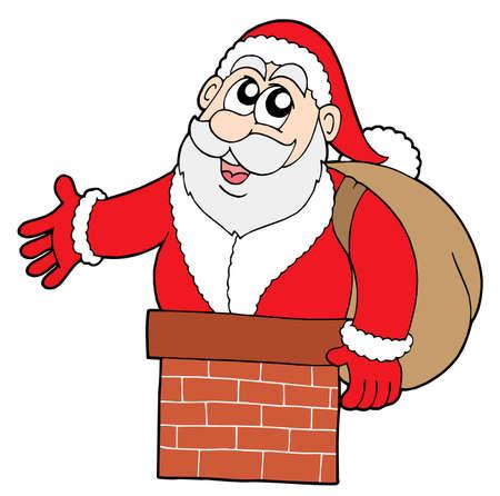 Santa Claus in chimney - vector illustration.