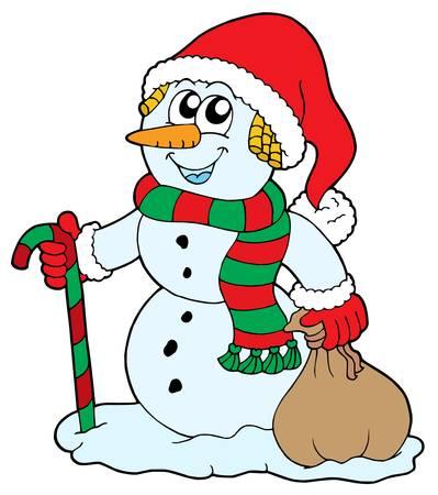 Santa snowman on white background - vector illustration. Vector