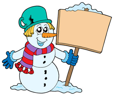 Snowman with sign - vector illustration. Stock Vector - 3571271
