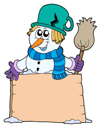 Snowman with sign and broom - vector illustration. Stock Vector - 3571261