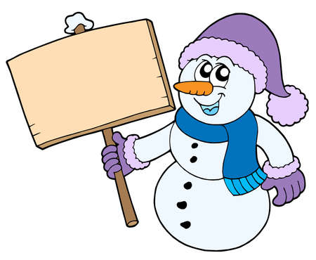 Snowman with wooden sign - vector illustration. Stock Vector - 3571276