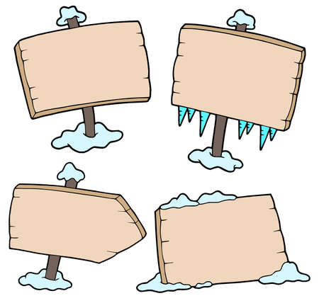waypoint: Winter wooden signs - vector illustration.