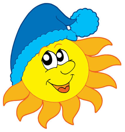 blue smiling: Sun in winter cap - vector illustration.