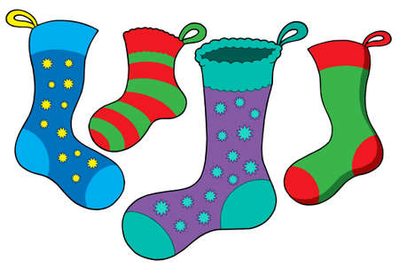 Various Christmas socks - vector illustration. Stock Vector - 3597769