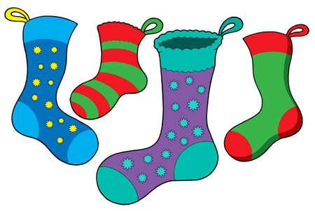 Various Christmas socks - vector illustration.