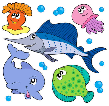 Cute marine animals collection 2 - vector illustration. Illustration