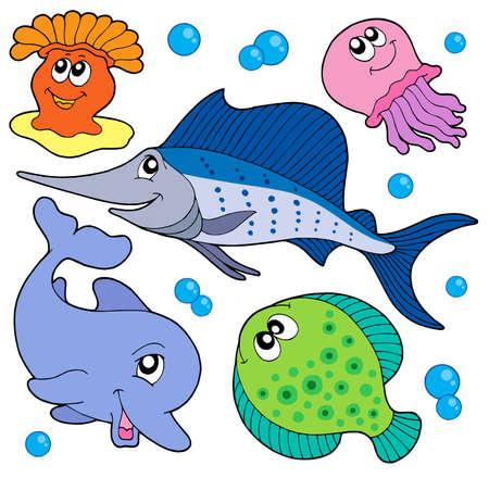 pez espada: Linda colecci�n de animales marinos 2 - ilustraci�n vectorial.